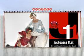 Frivoles Wien - Plakatwerbung für ein Laufhaus in Österreichs Hauptstadt